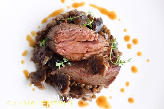 Filetto di vitello cotto a bassa temperatura, lenticchie e chiodini
